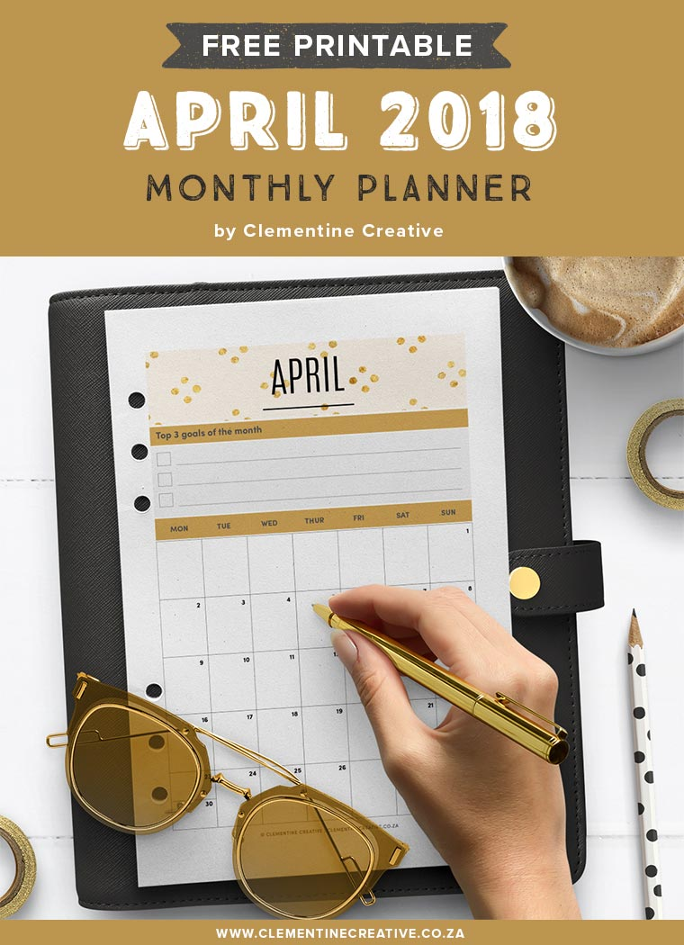 free printable april 2018 monthly calendar