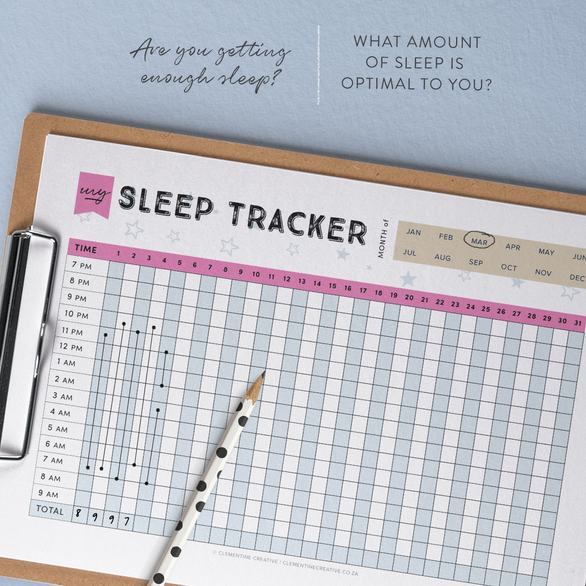 printable sleep tracker