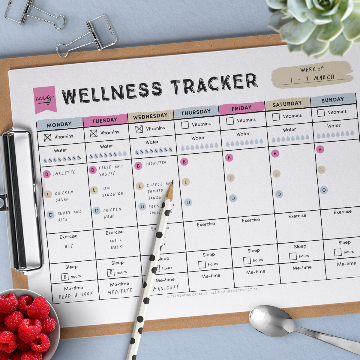 printable wellness tracker