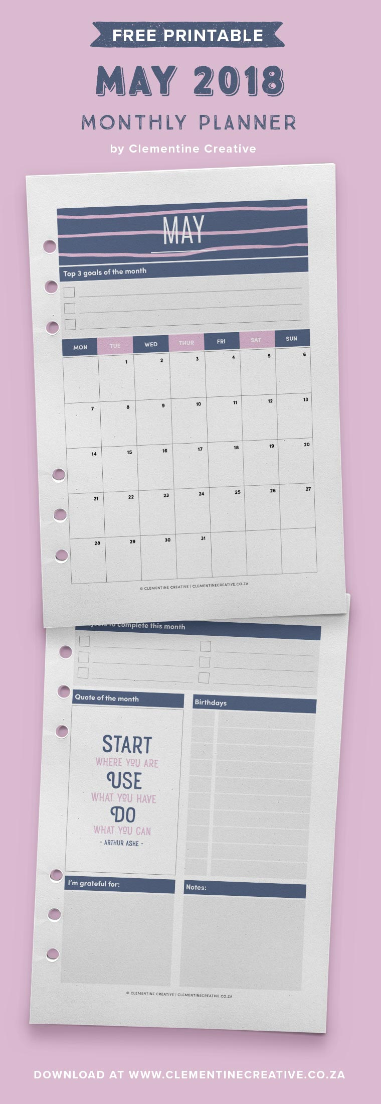 Free printable May 2018 monthly planner pages