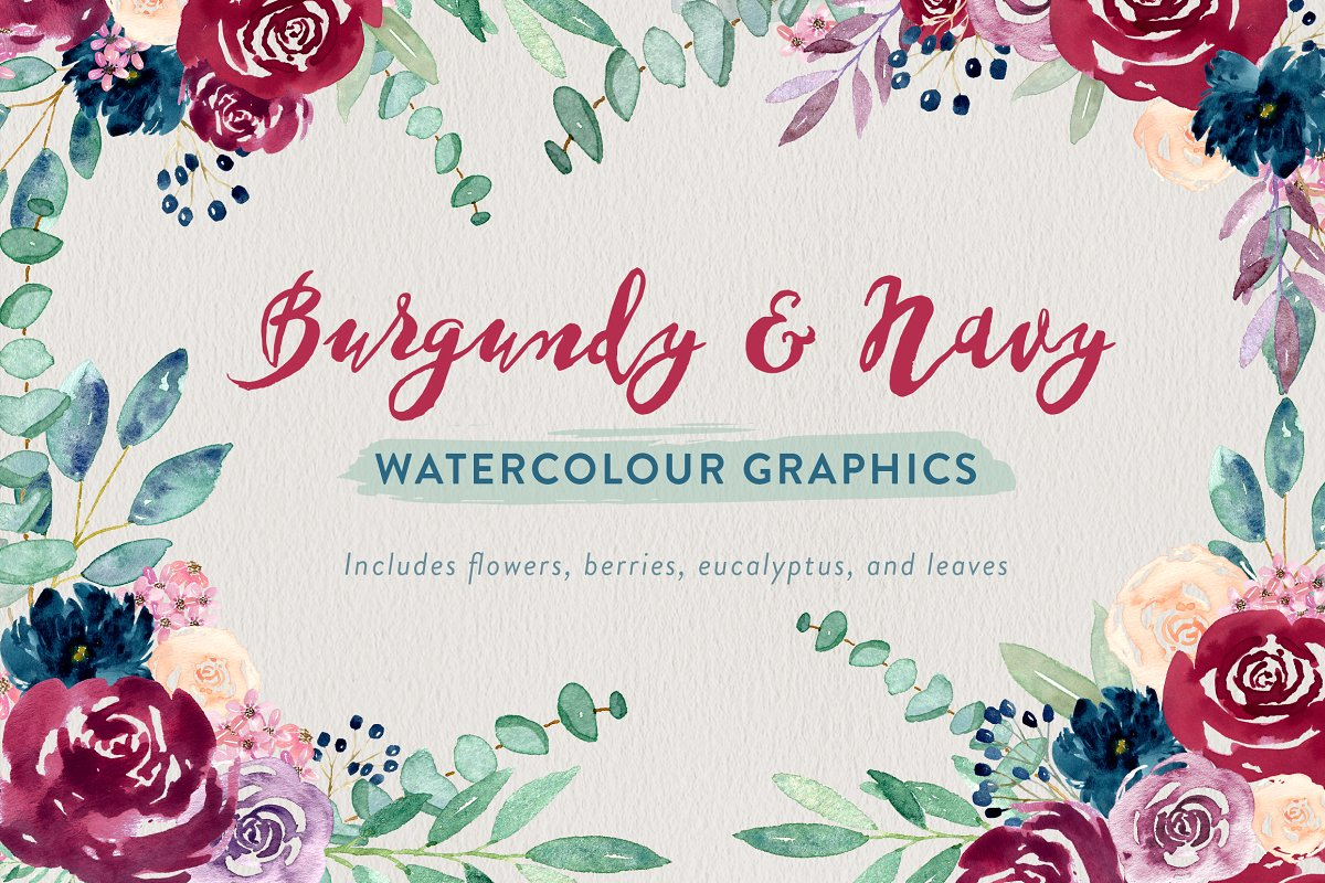 watercolor burgundy rose and eucalyptus illustrations