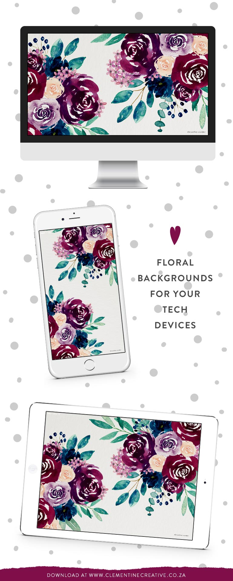 watercolor flowers wallpaper for desktop, tablet and phone