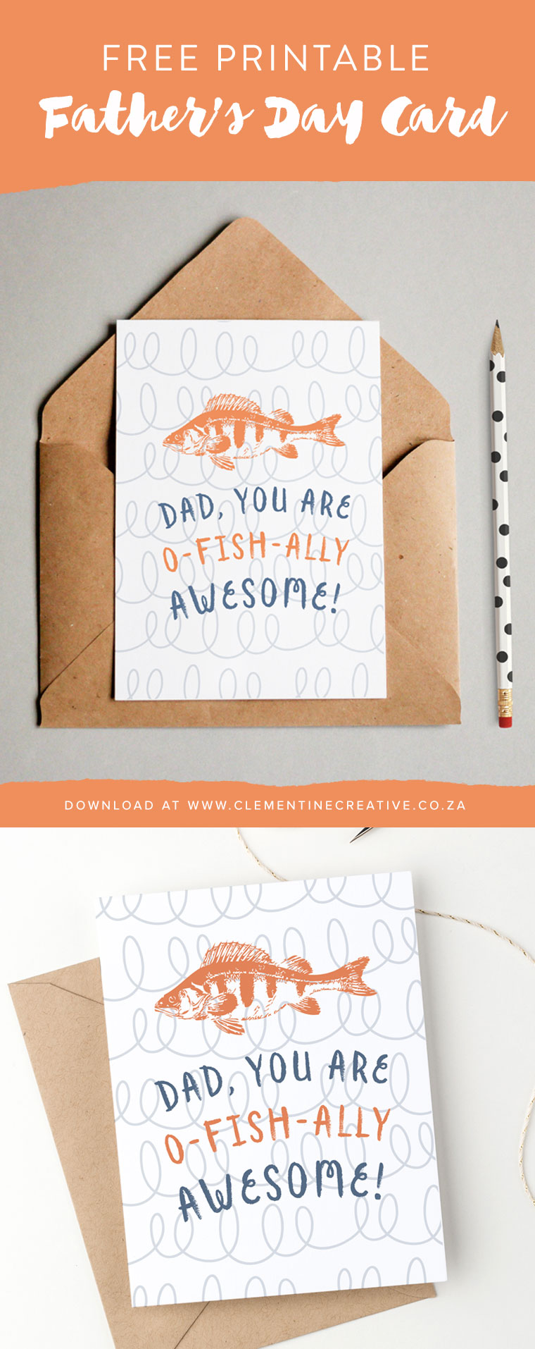 Is your dad awesome? Tell him with this free printable Father's Day card with a funny message. Download on clementine creative.