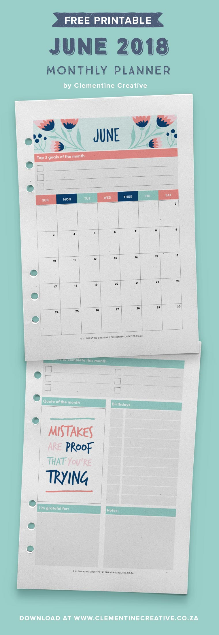 June 2018 free printable monthly planner. Available in A4, A5, Pocket and Personal sizes.