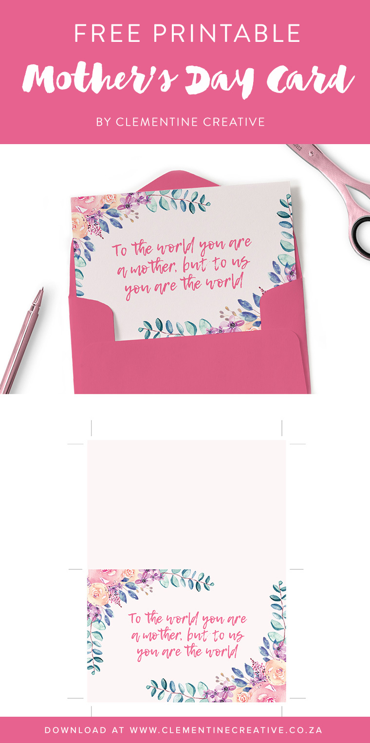 Free printable Mother's Day card and matching gift tags. Click here to download.