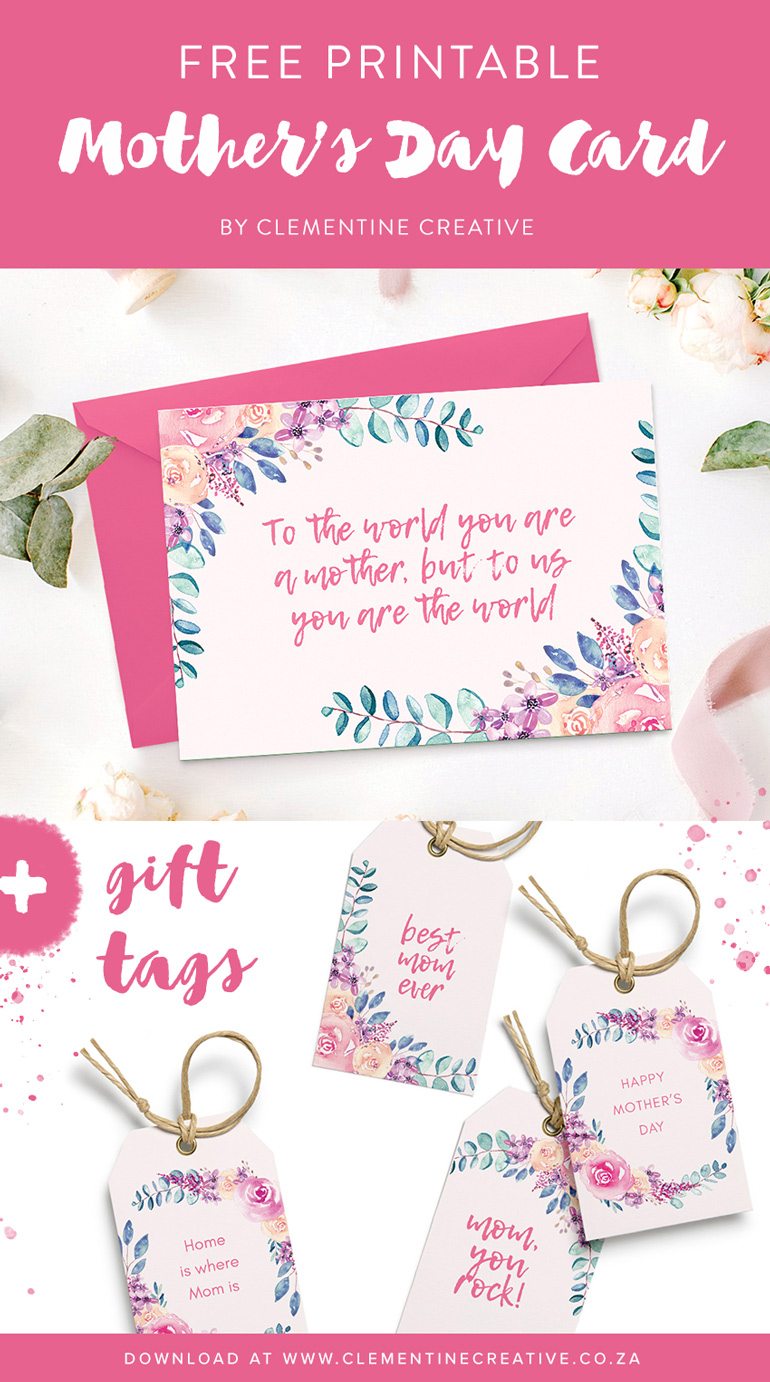 Free printable Mother's Day card with matching gift tags. Click here to download!