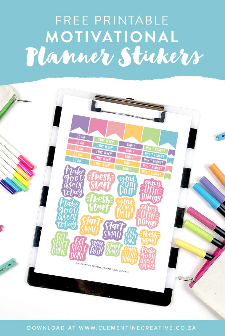graphic relating to Free Printable Stickers titled Free of charge Printable Motivational Planner Stickers