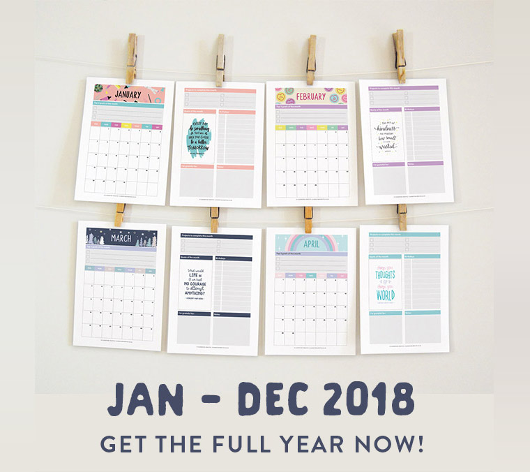 printable 2018 monthly planners