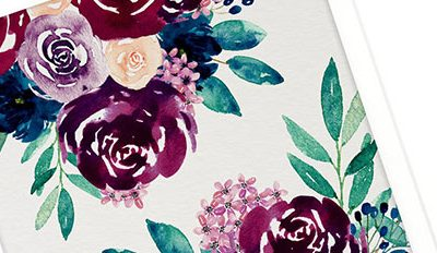 Free Desktop Wallpaper – Burgundy & Navy Watercolour Flowers