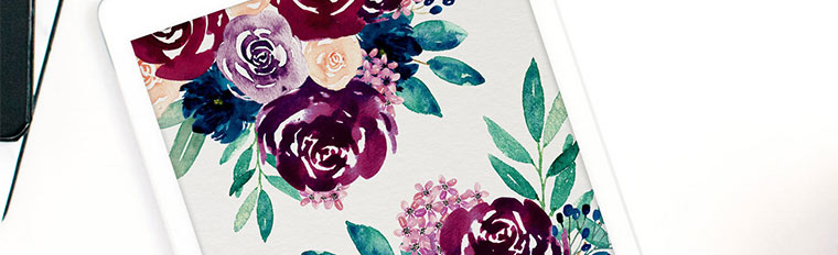 Free Desktop Wallpaper – Burgundy & Navy Watercolour Flowers