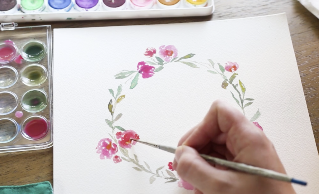 how to paint a watercolor floral wreath