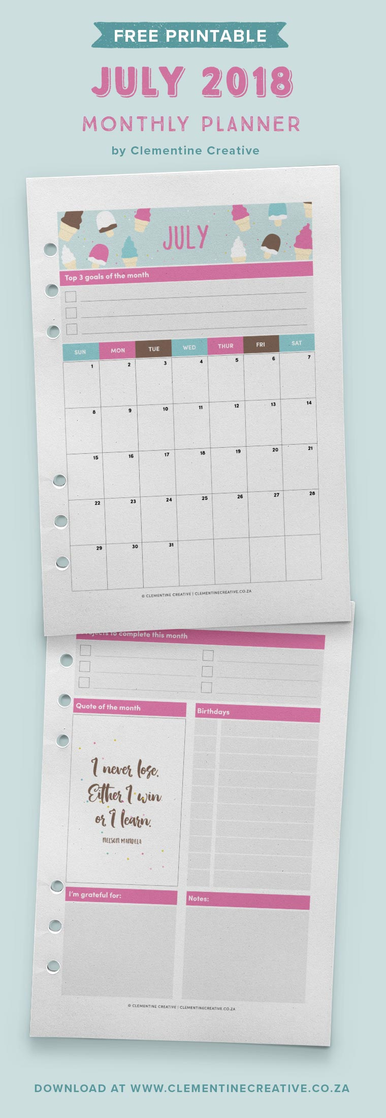 Get planning for July with this free printable July 2018 monthly planner! Click here to join the Clementine Creative club and get it delivered to your inbox.