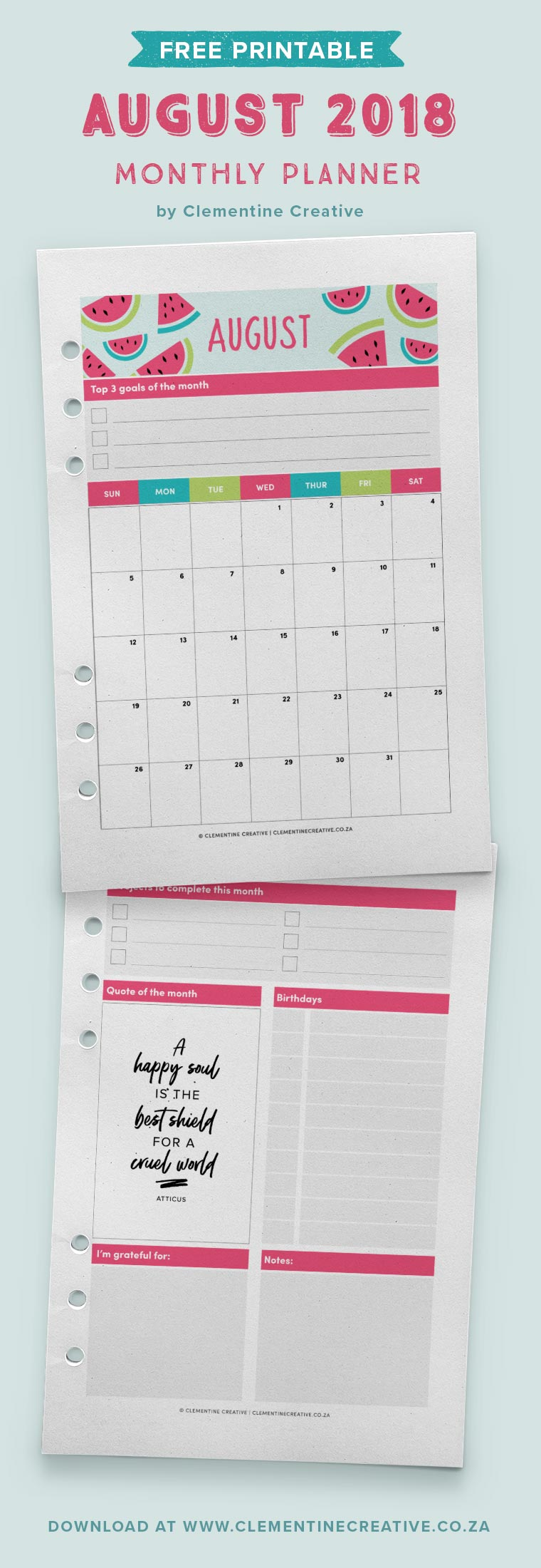 Free printable August 2018 monthly planner