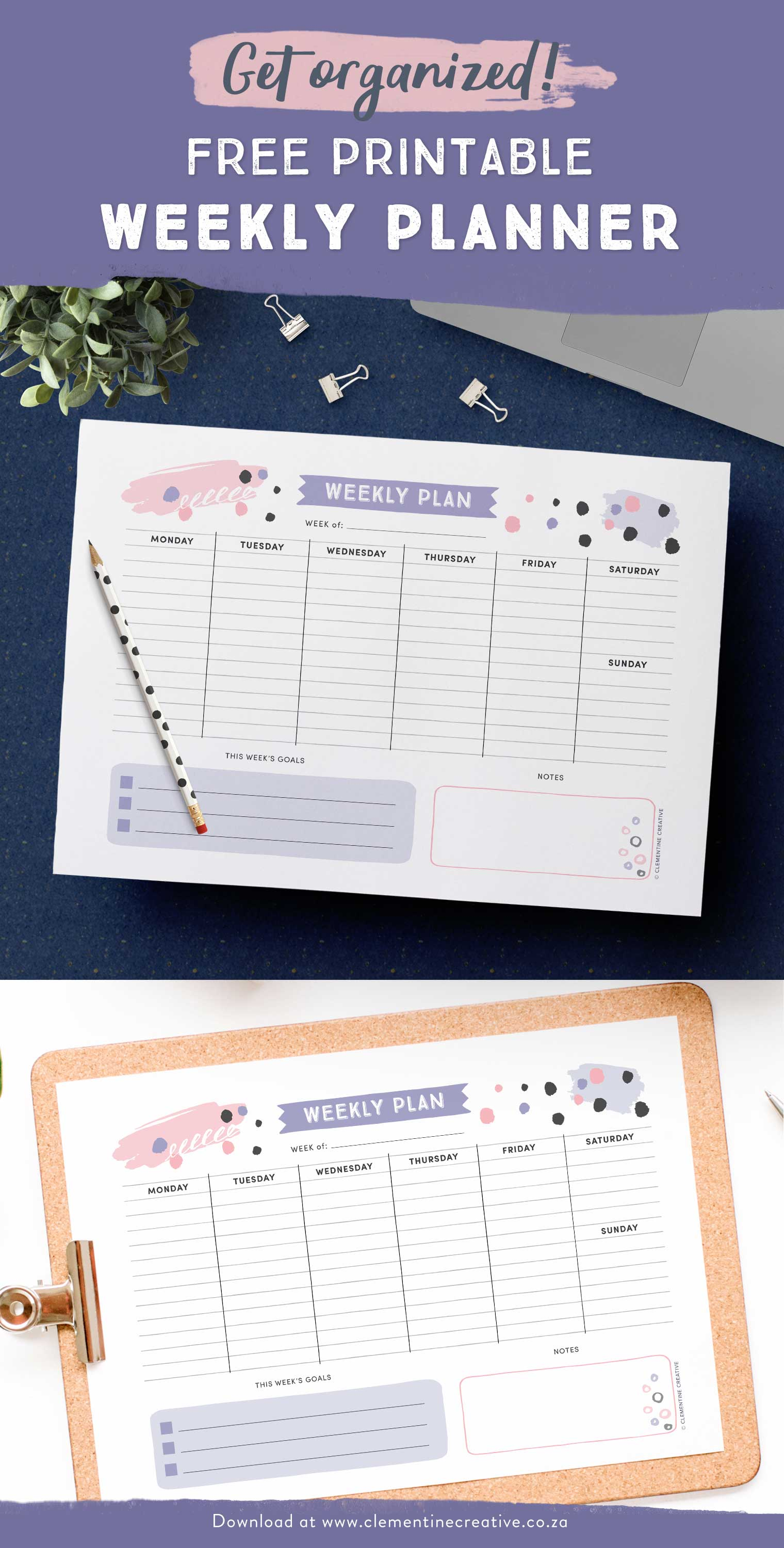 Get organized with this free printable weekly planner! Plan your week from Monday to Sunday. There's even space to write down your top 3 goals for the week so you stay focused on what matters. Click here to download.