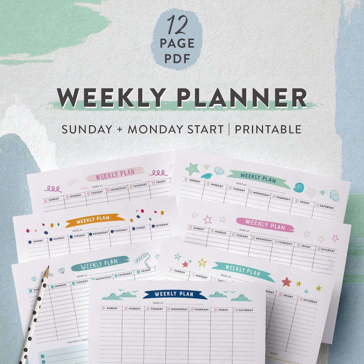 printable weekly planner kit of 12 pages