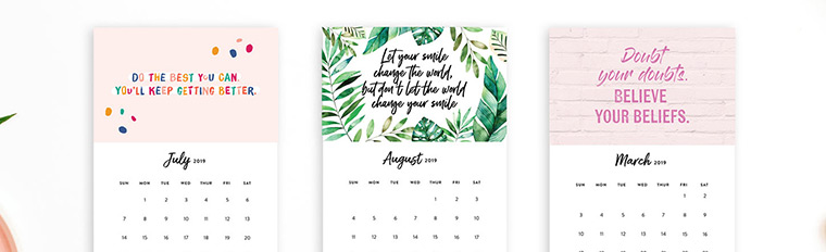 printable 2019 motivational desk calendar to inspire you every month
