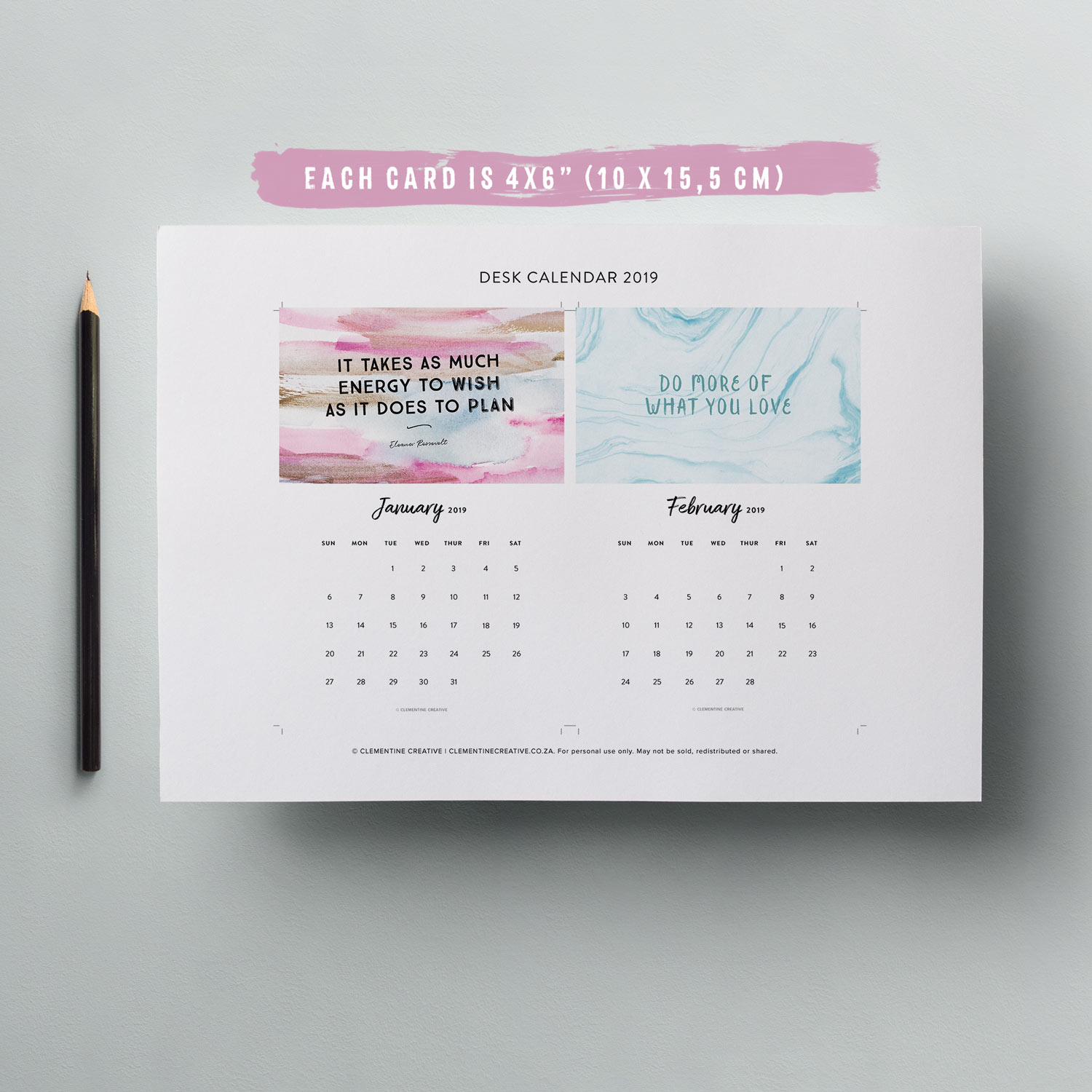 printable motivational desk calendar for 2019