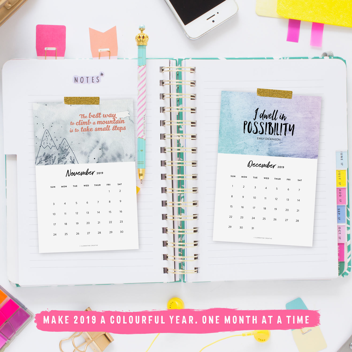 printable motivational 2019 calendar