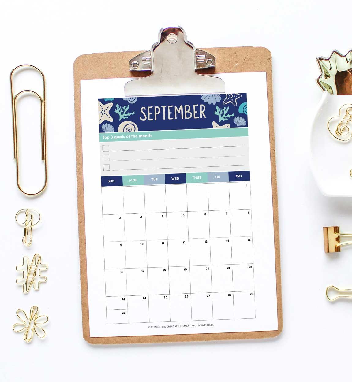 September 2018 free printable calendar