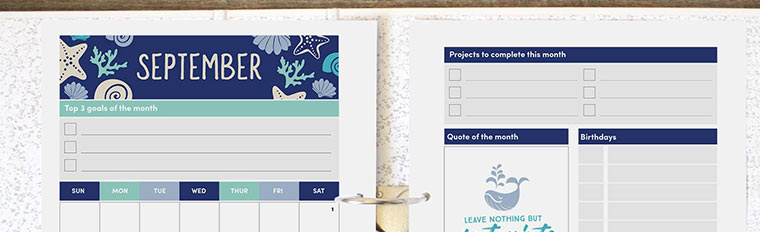 September 2018 {Free Printable Monthly Planner}