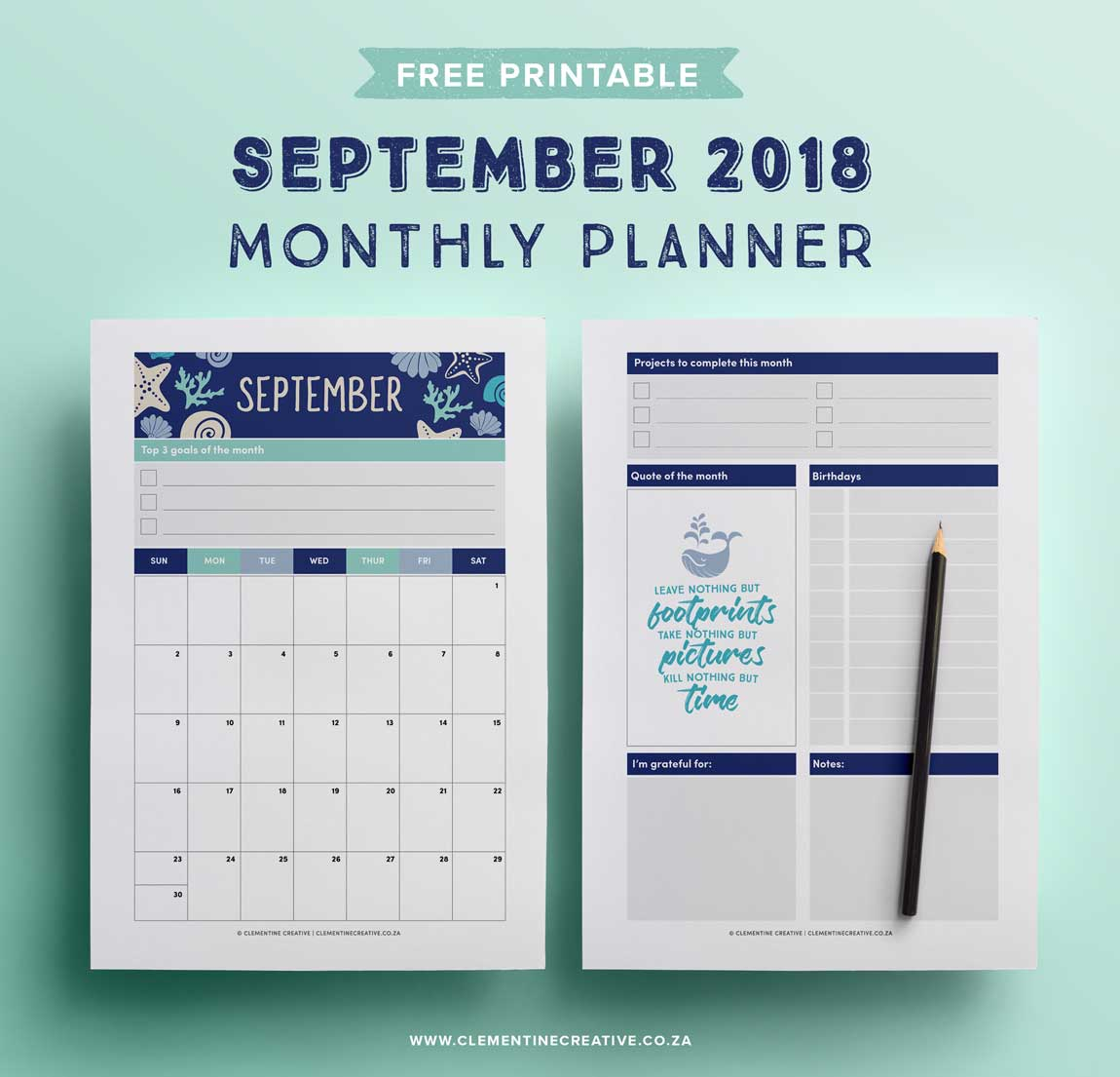 September 2018 free printable calendar and monthly planner. Click here to download!