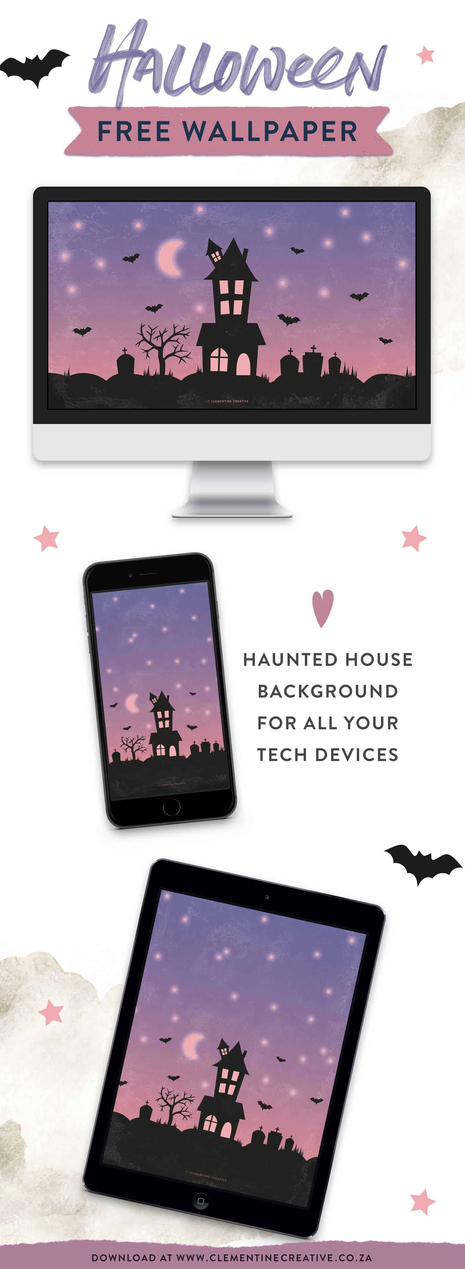 Halloween haunted house wallpaper for your desktop, tablet and phone.