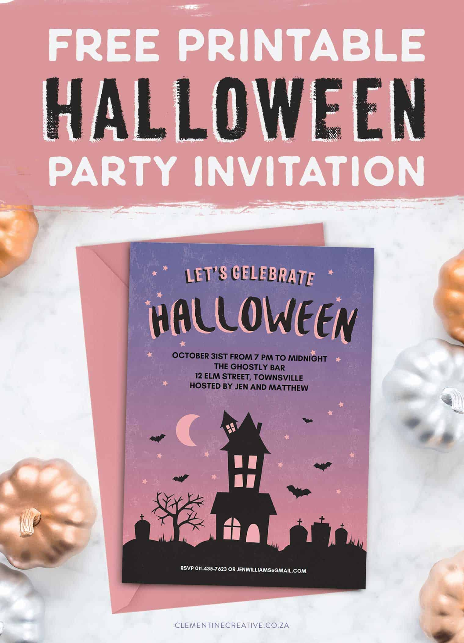 free printable halloween party invitation  haunted house