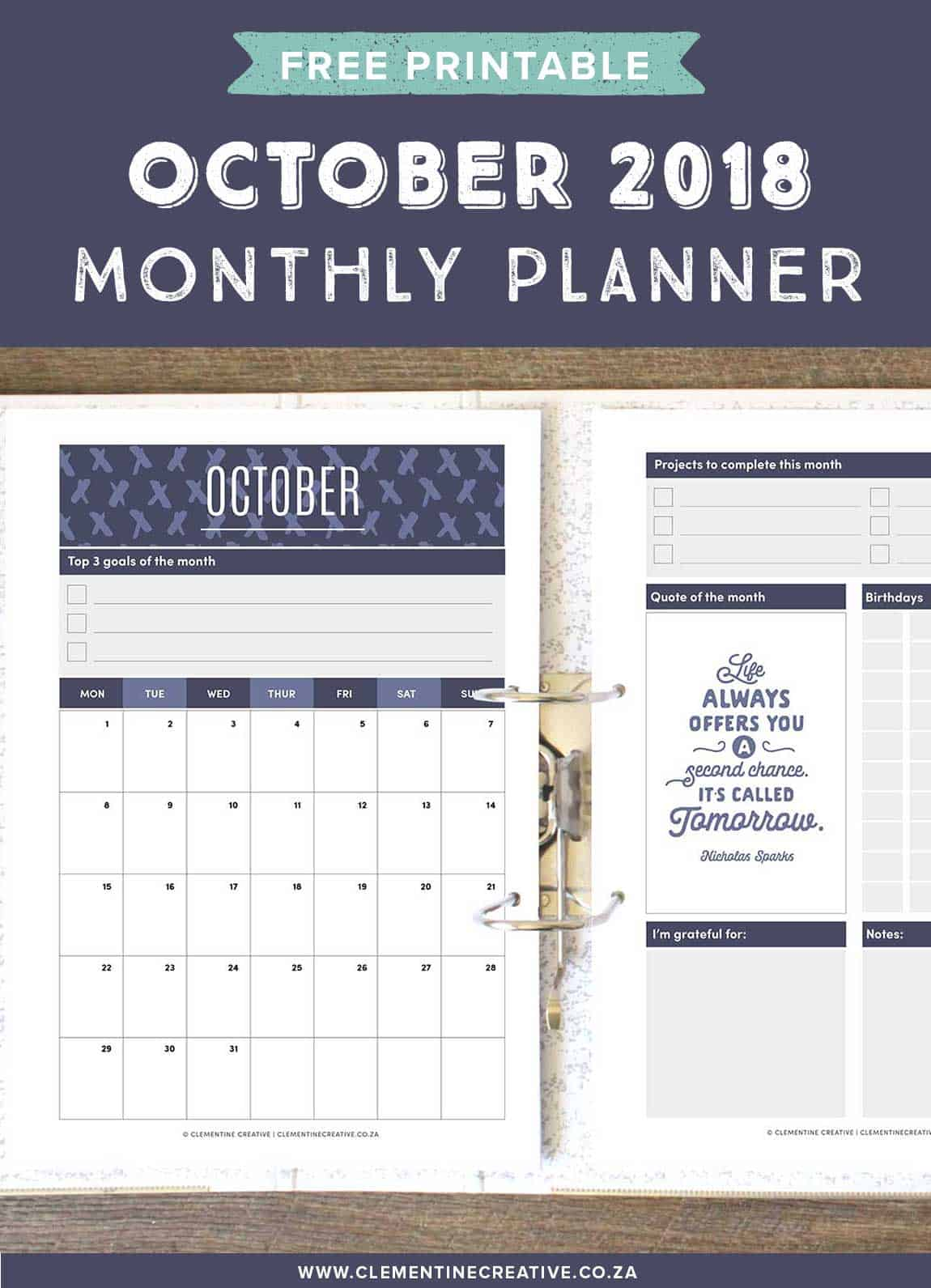 October 2018 free printable monthly planner