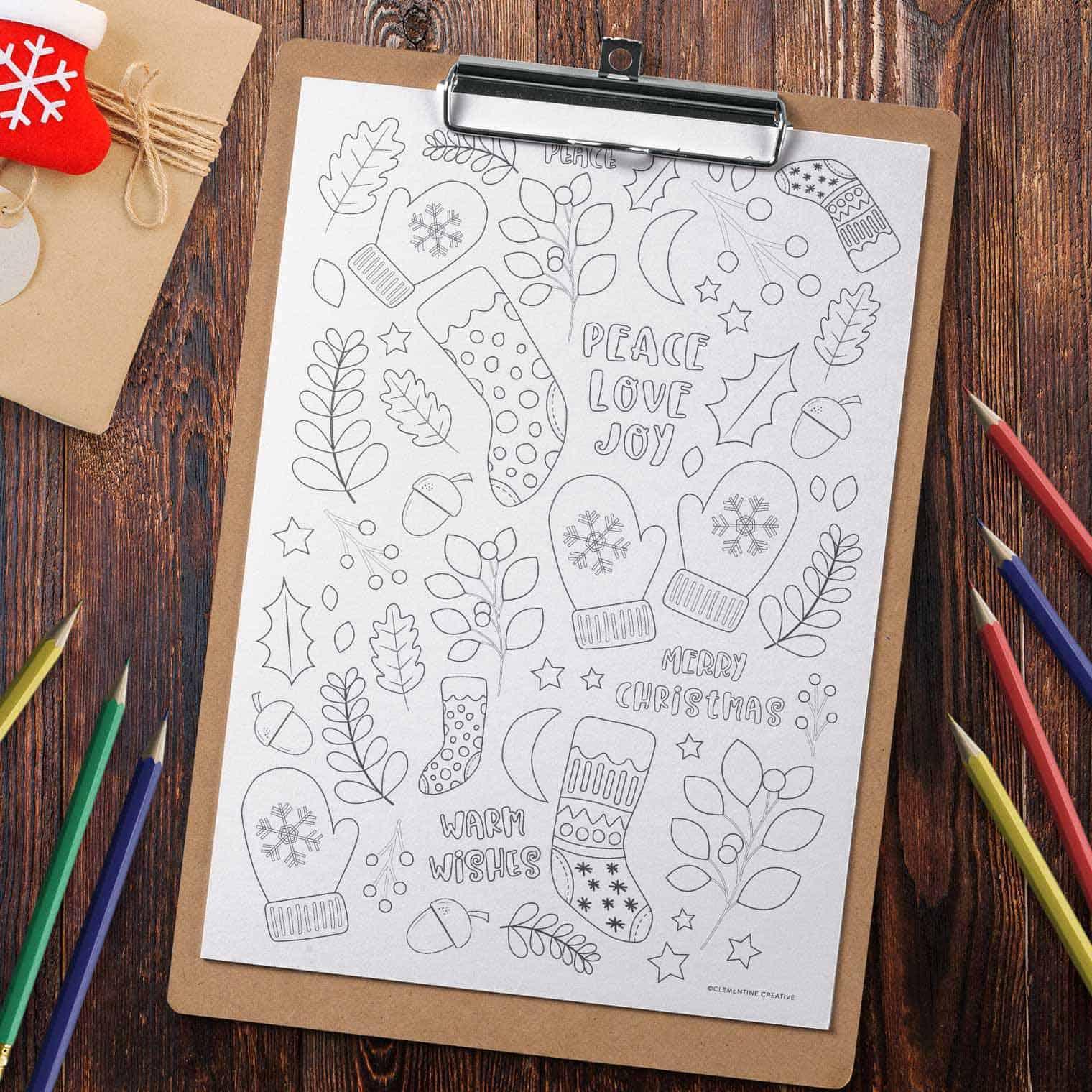 free printable Christmas colouring page