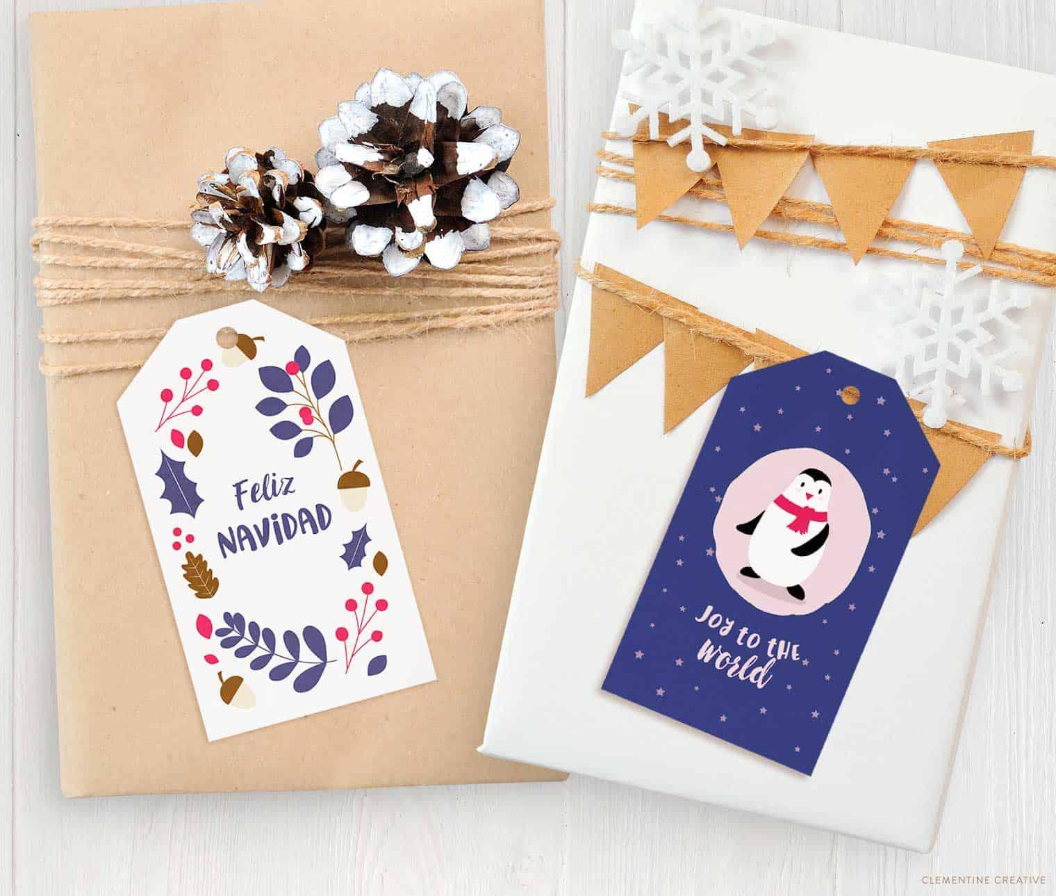 free printable adorable Christmas gift tags