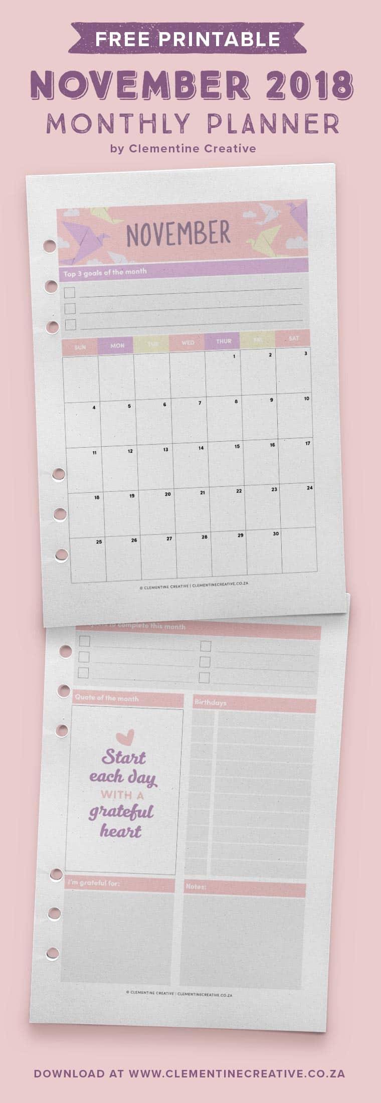 November 2018 free monthly planner