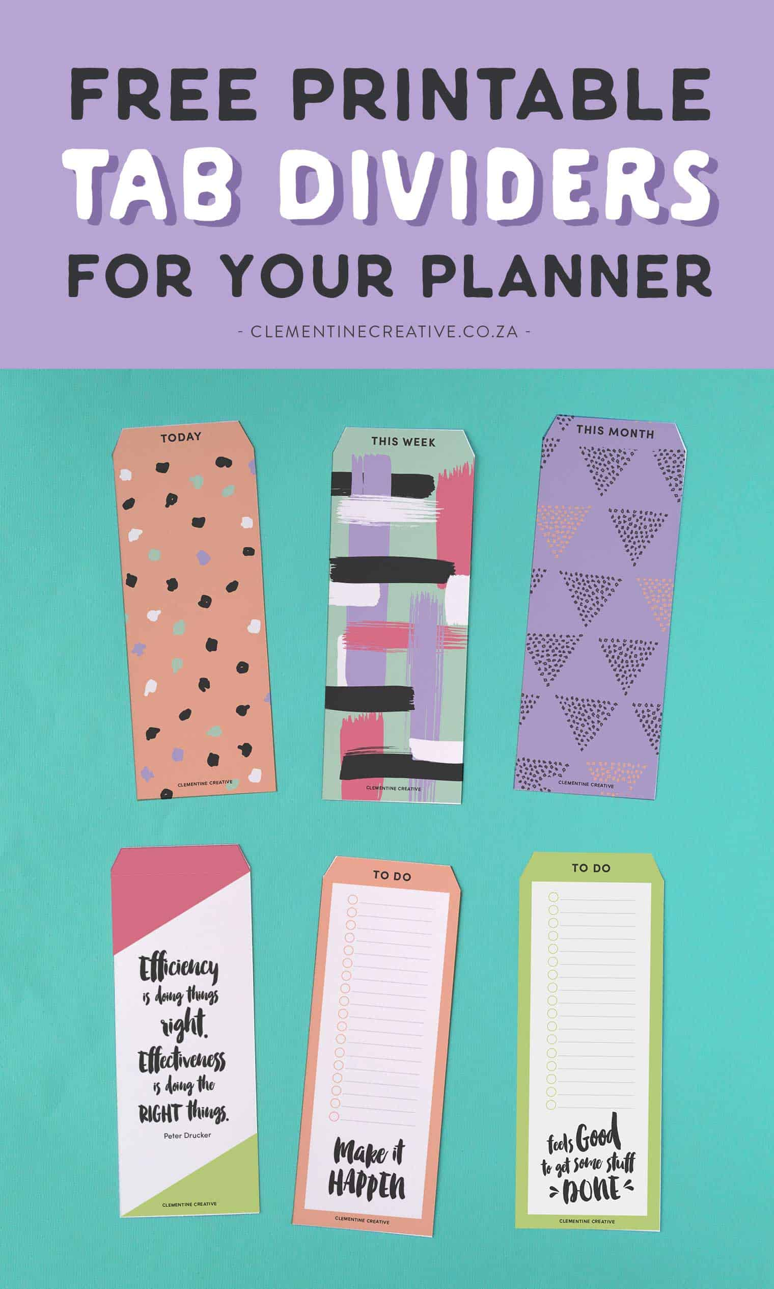 free printable top tab dividers for planners