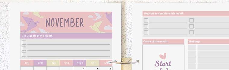 November 2018 {Free Printable Monthly Planner}