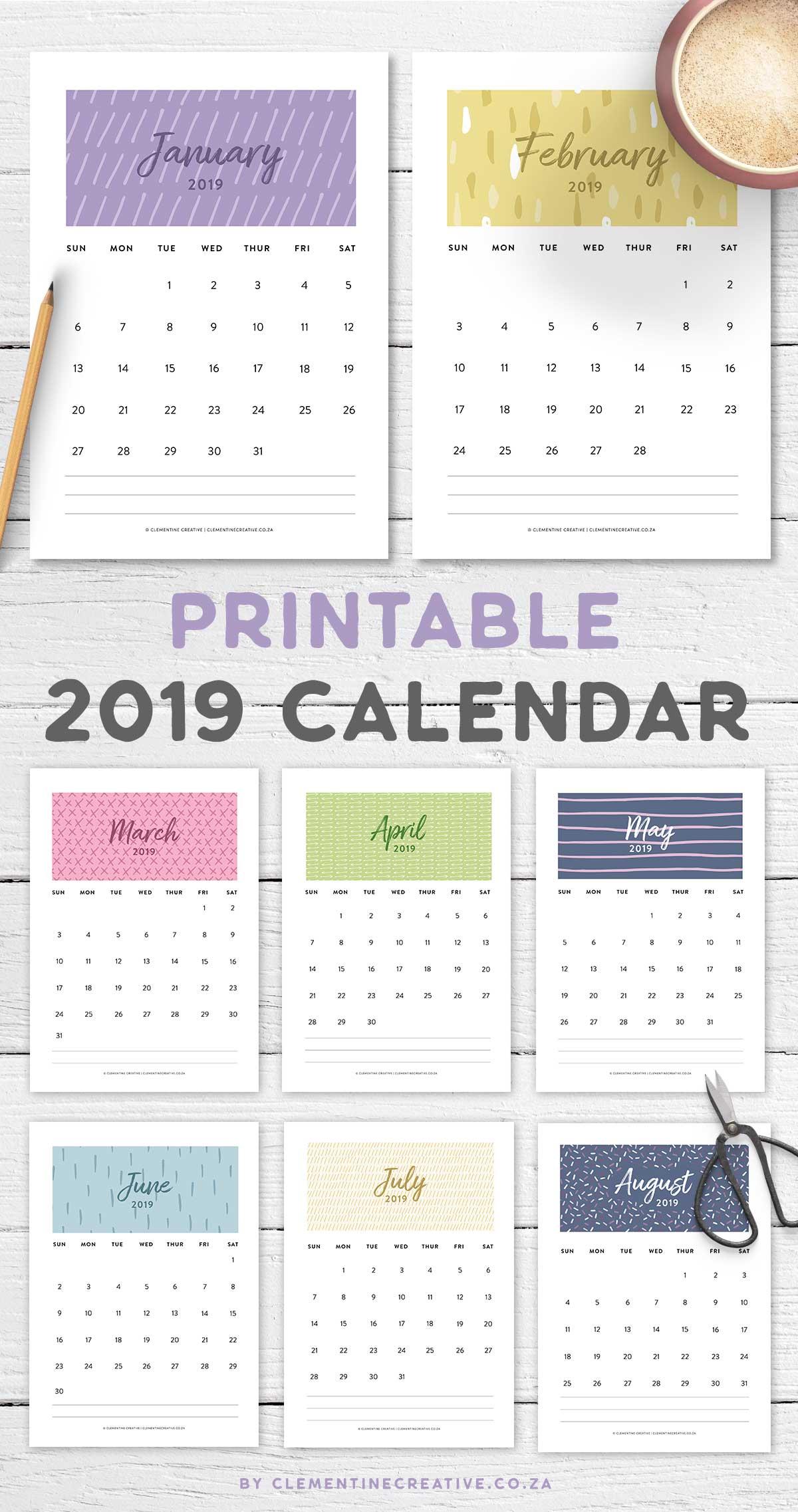 printable 2019 calendar