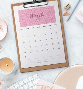 free printable 2019 wall calendar