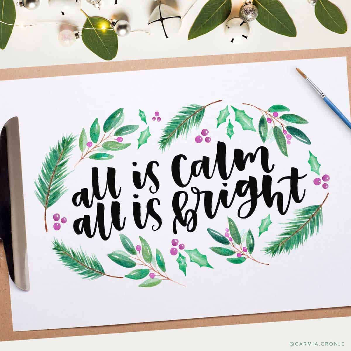All is calm hand lettering