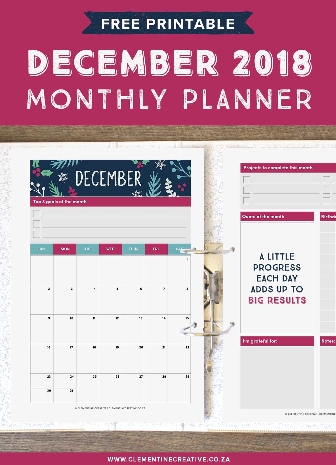 December 2018 free printable monthly planner