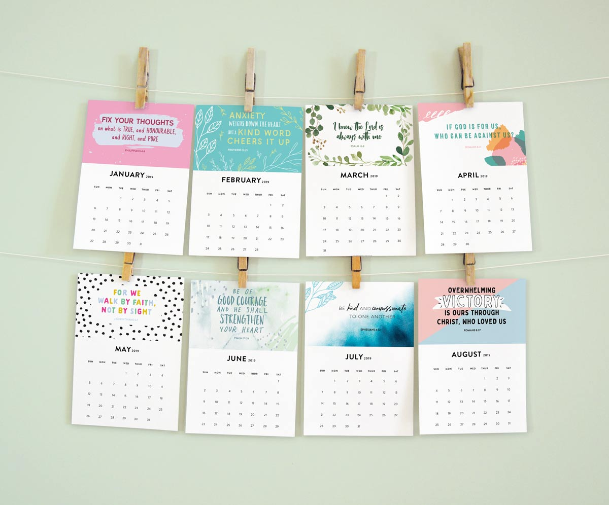 New In My Shop Printable 2019 Bible Verse Calendar