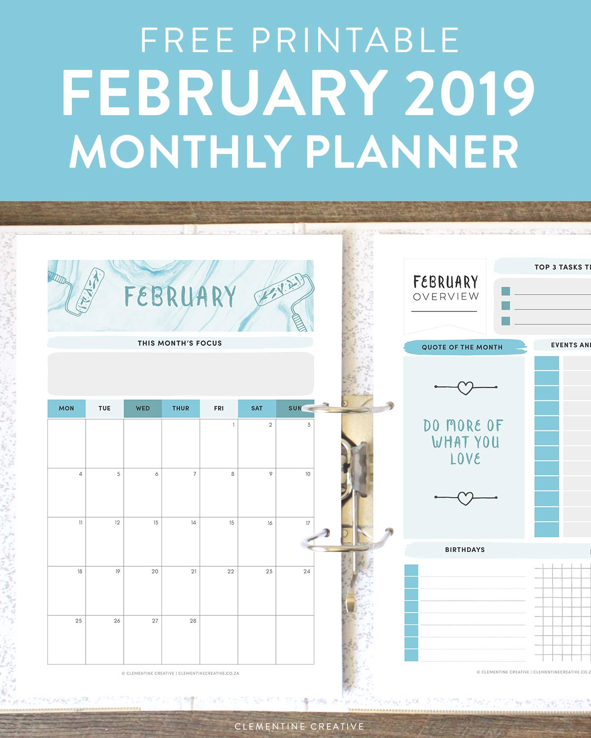 free printable February monthly planner