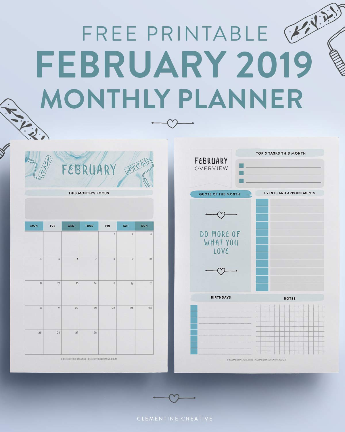 free printable February 2019 monthly planner