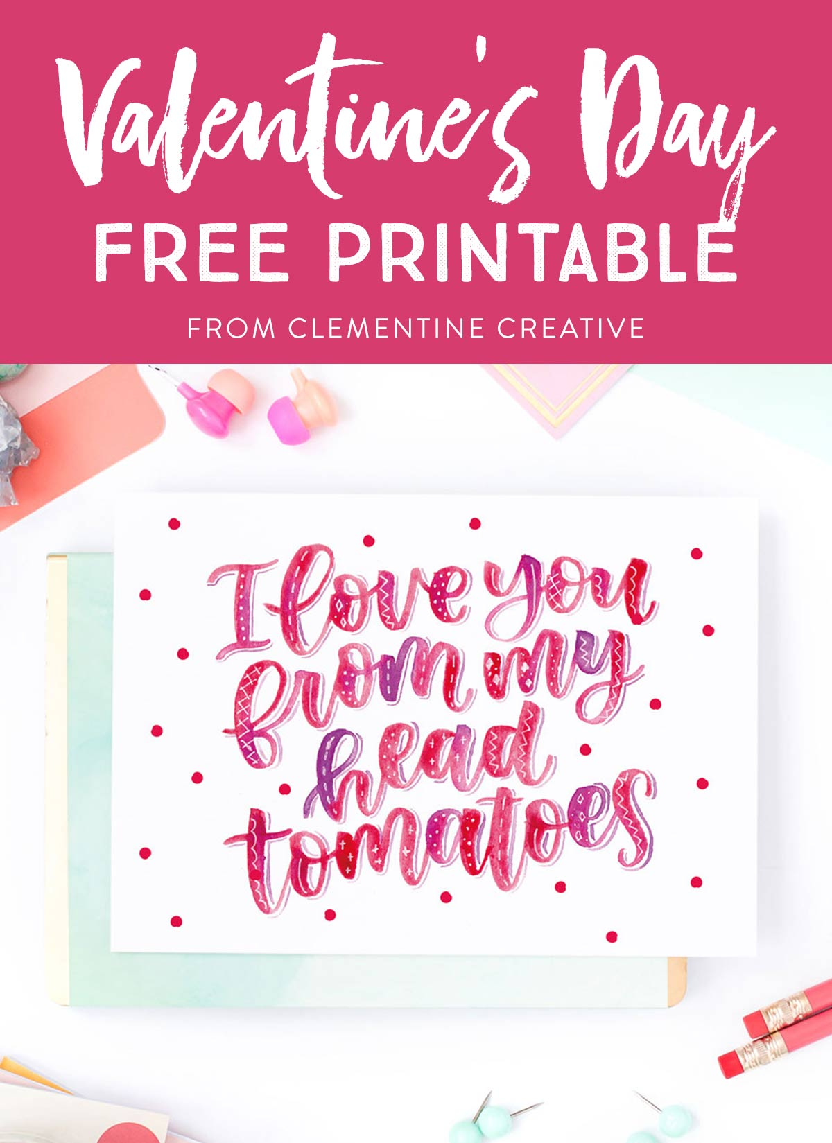 image relating to Valentines Printable Free identify Totally free Printable Hand Lettered Valentines Working day Card with Punny
