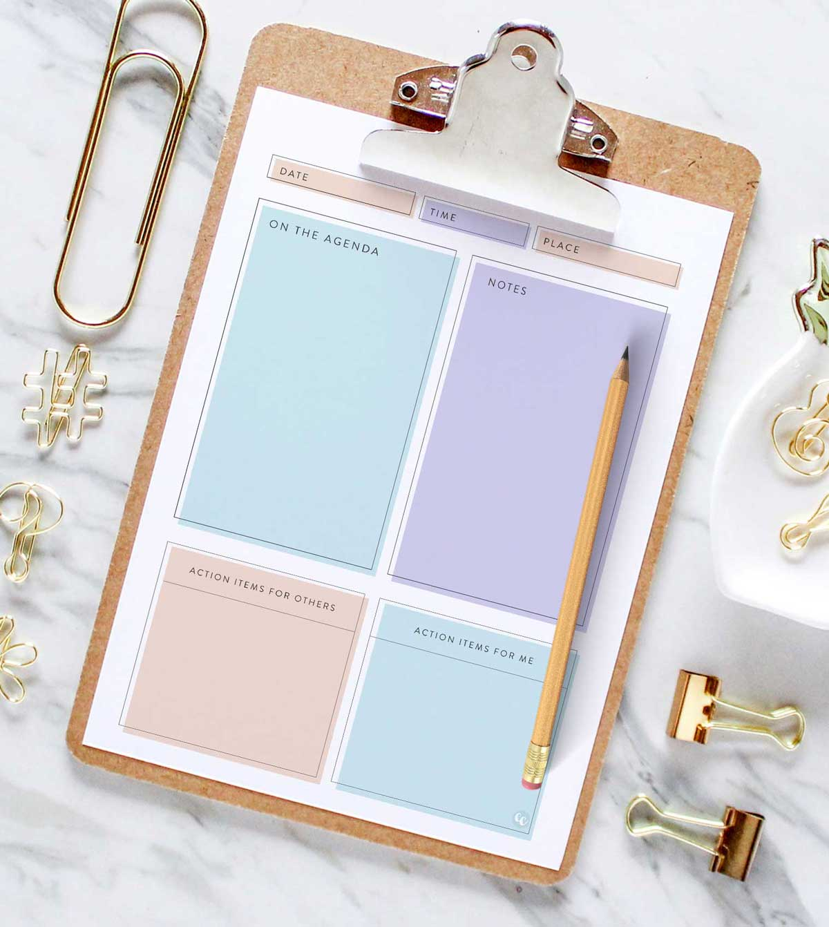 free printable meeting agenda template feminine