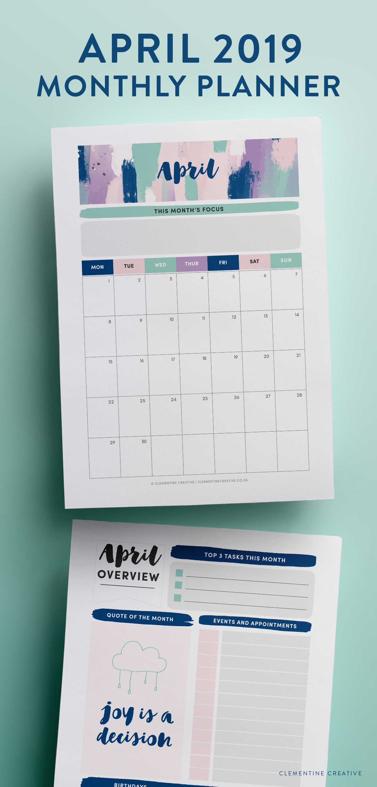 April 2019 printable calendar and monthly planner