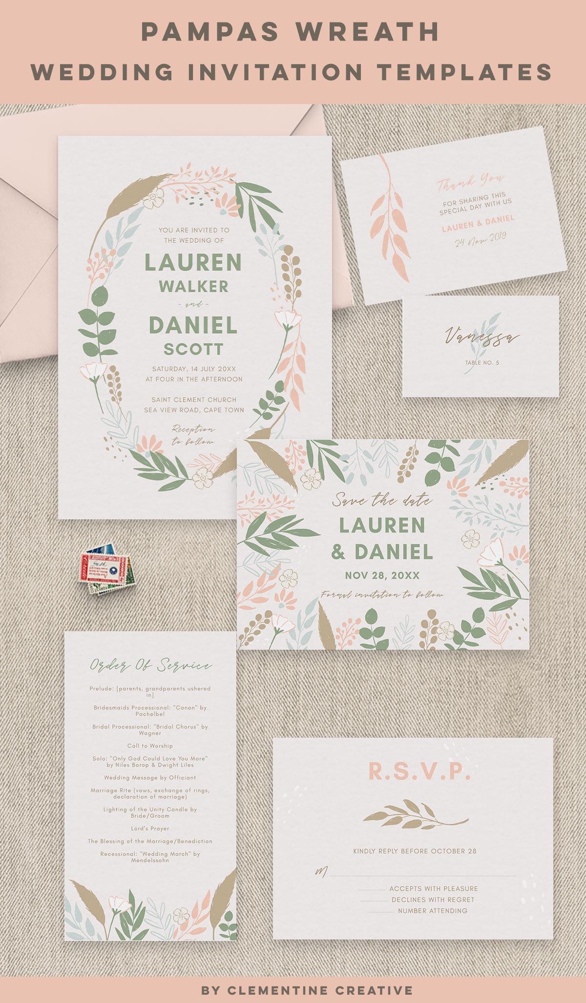 pampas grass wedding invitation