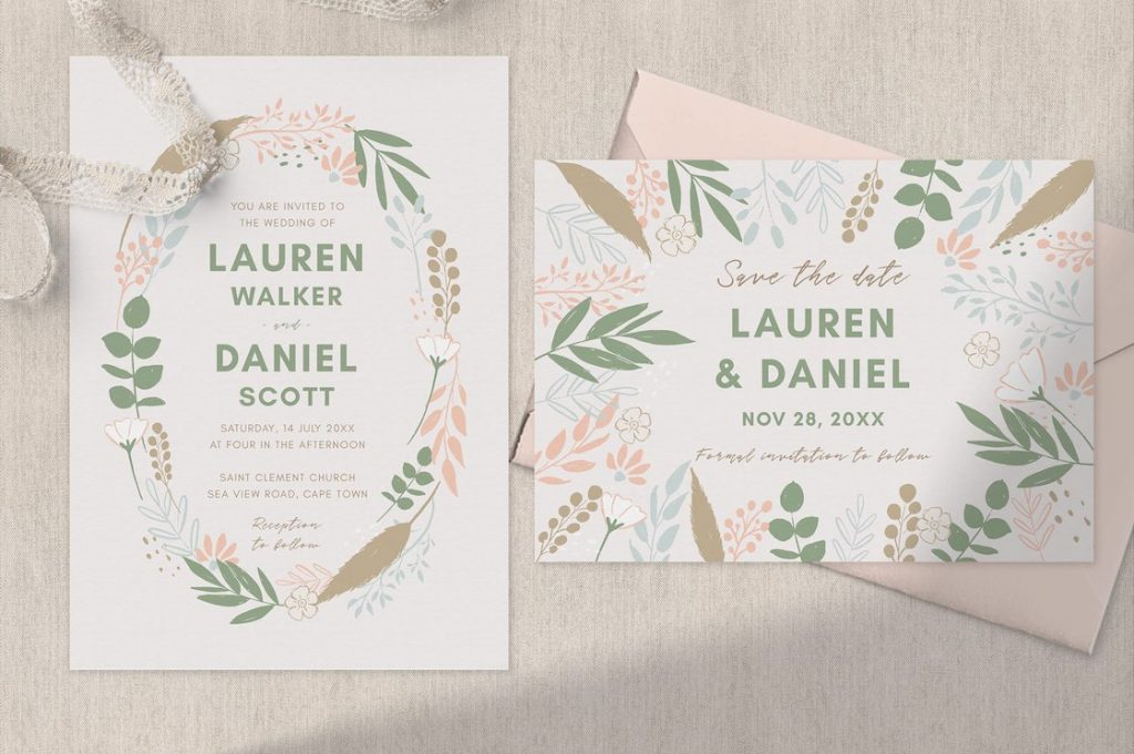pampas wreath wedding invitation