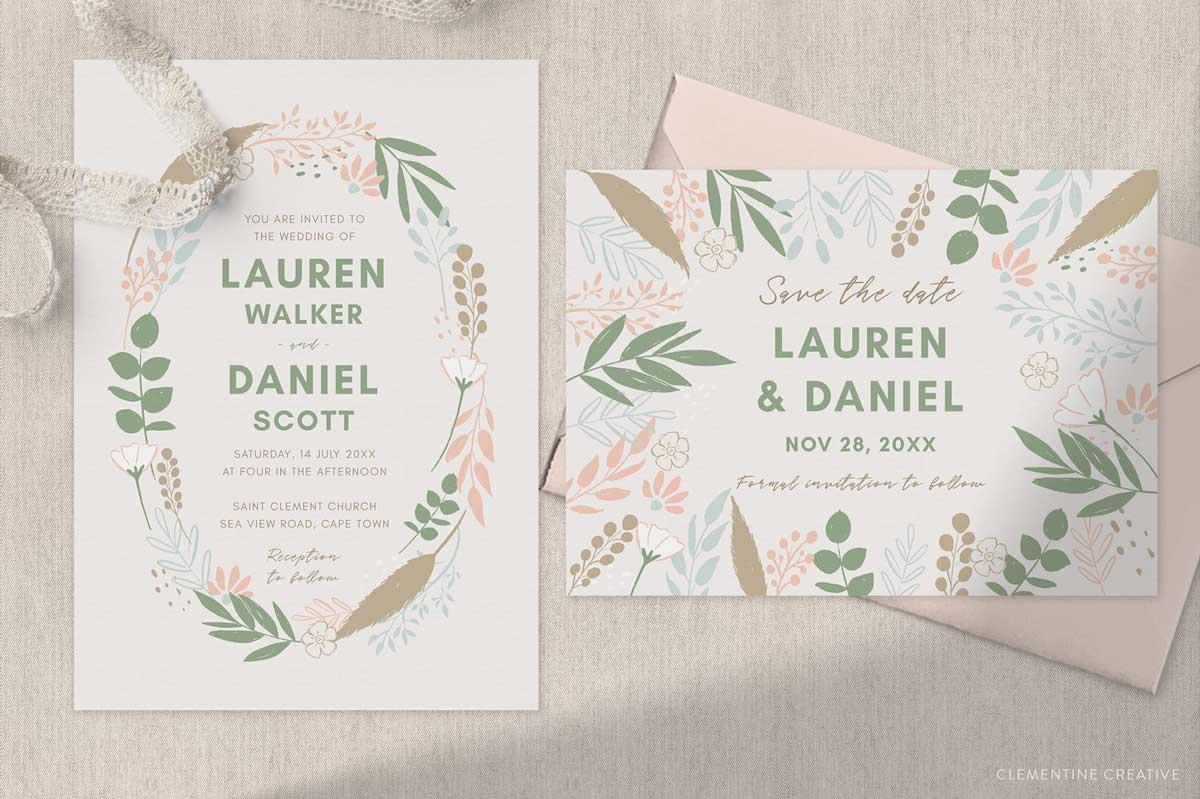 pampas grass wedding invitation set