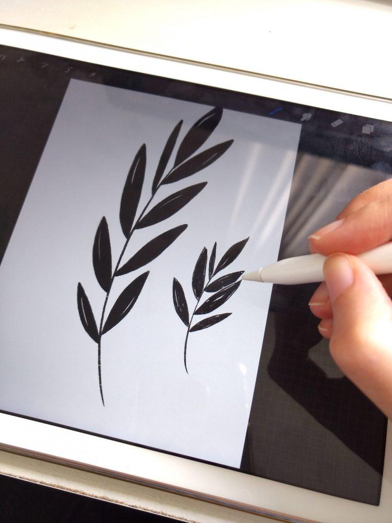 drawing leaves in procreate app