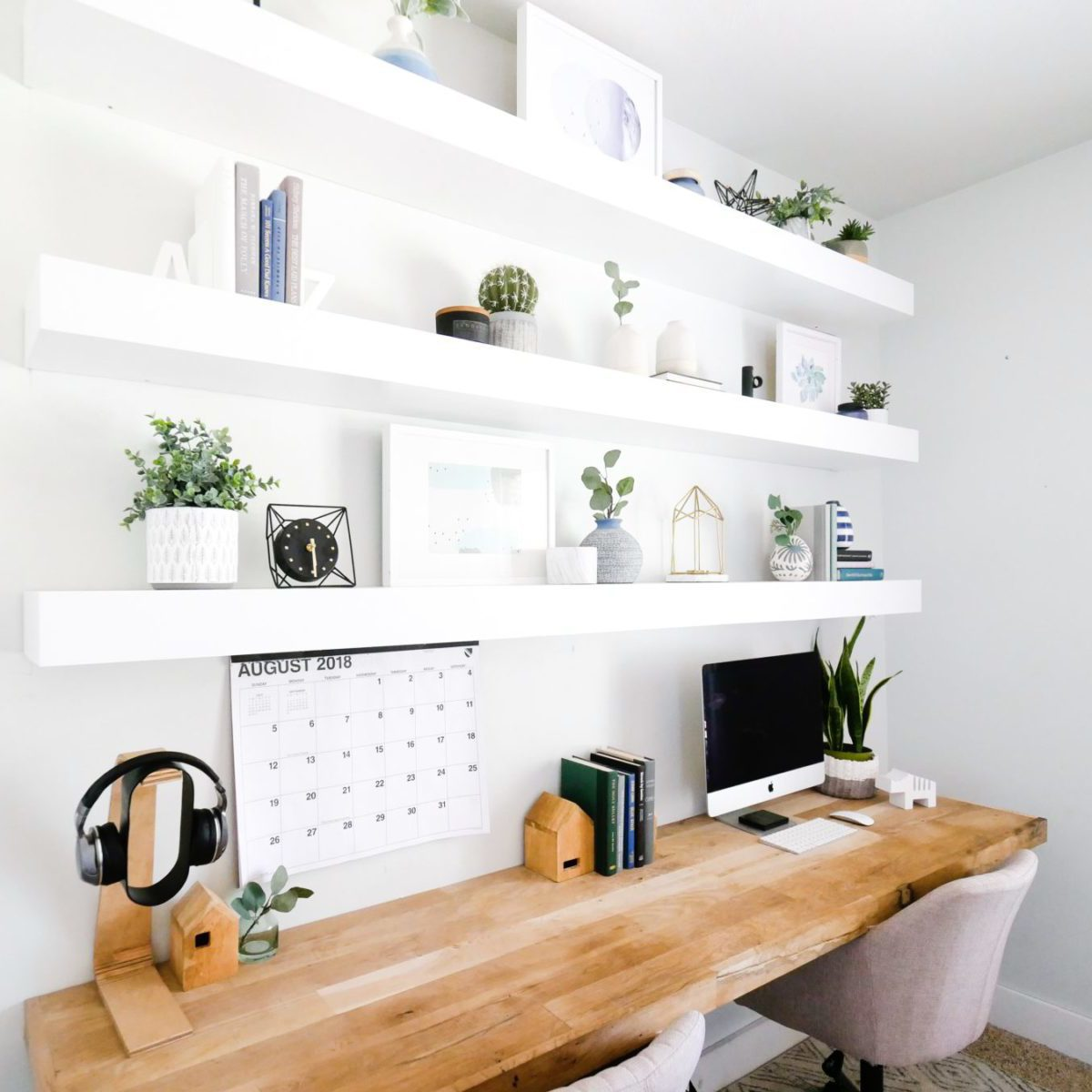 bright white home office space inspiration
