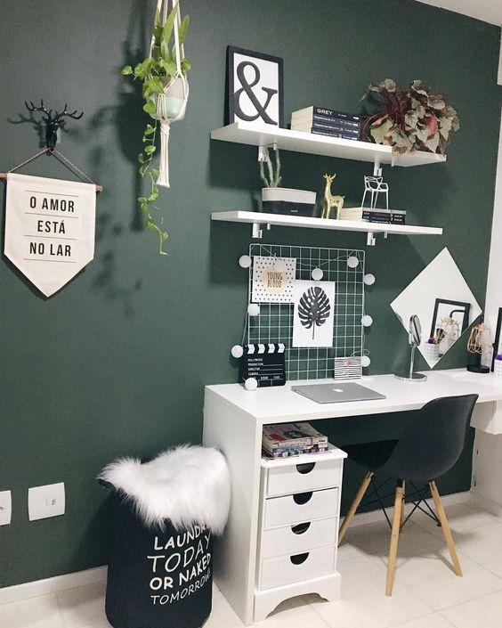 dark green scandinavian home office