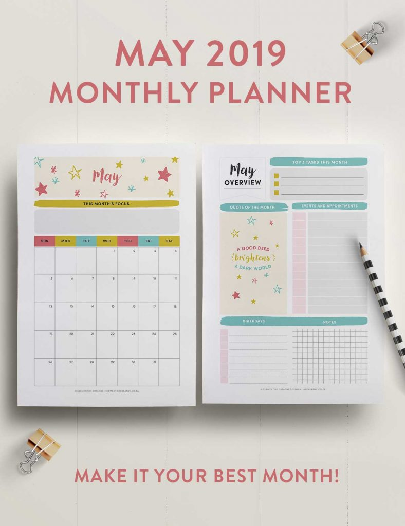 may 2019 printable monthly planner